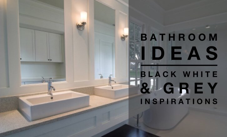 Bathroom ideas black white grey colour palette for Black white bathroom ideas