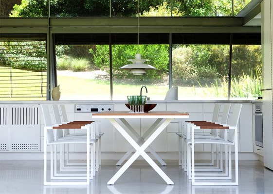 Outdoor Furniture - 20 Great Pieces to Consider - Coast White Cross Leg  Dining Table from - Outdoor Furniture - 20 Great Pieces To Consider - Coast White Cross