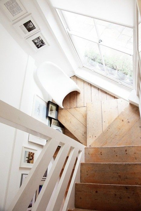 Pins of the week at The Design Library Au 3rd May - A stair case with timber treads and white rails | desiglibrary.com.au