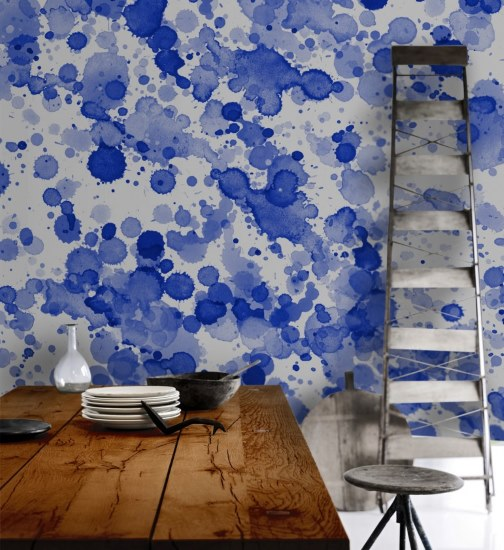 Scandinavian Wallpaper and Decor - Watercolours Blue Drops - Within The Pages Interior Design Magazines | designlibrary.com.au