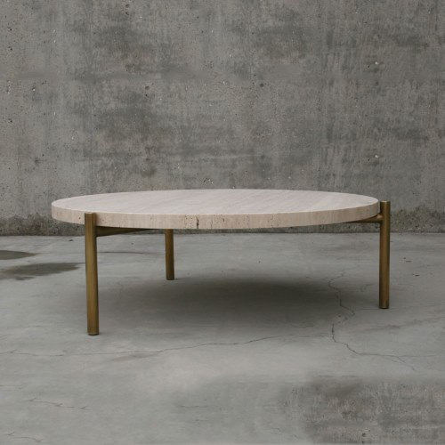 Travertine side table with brass legs - Spence and Lyda - Interior DesignMagazines - www.designlibrary.com.au