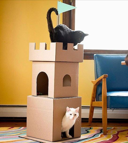 Cat Cardboard Castle - 6 Unique Ideas for Leftover Moving Boxes | designlibrary.com.au