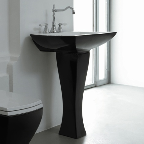 Parisi Jazz Pedestal Wall Basin White Black - Interior Design Magazines |  designlibrary.com.au