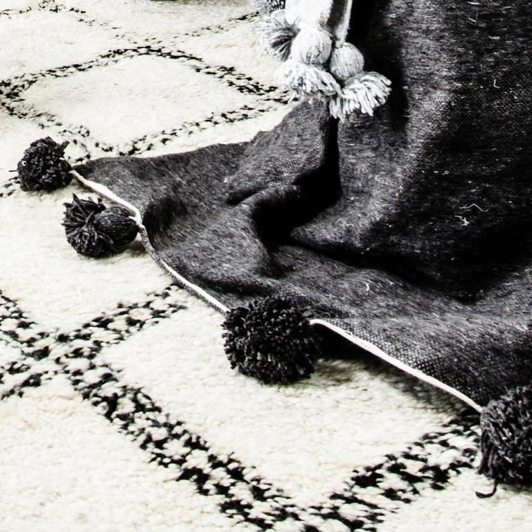 Zoco Home - Ethnic Scandinavian Decor - Black and White Blanket | designlibrary.com.au