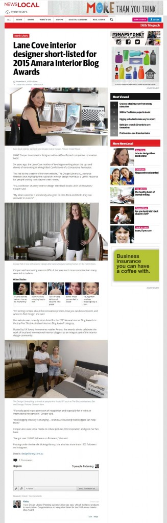 Daily Telegraph - Lane Cove interior designer short-listed for 2015 Amara Interior Blog Awards I DailyTelegraph